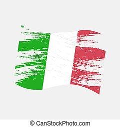 style, eps10, couleur, national, drapeau italie, grunge