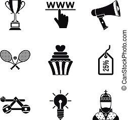 style, escompte, ensemble, icônes, simple, magasin ligne