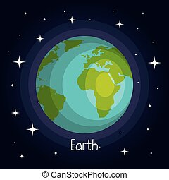 style, espace, planète, étoiles, la terre, brillant, dessin animé