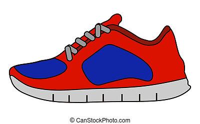 style, espadrilles, icône, chaussures, isolé, blanc, stockage, symbole, plat, arrière-plan.