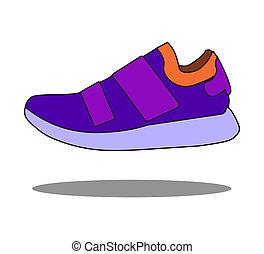 style, espadrilles, plat, icône, isolé, chaussures, blanc, stockage, symbole, illustration., arrière-plan.