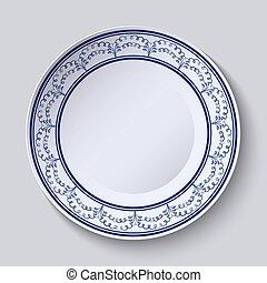 style, ethnique, espace, vide, bleu, plaques, center., ornement, peint