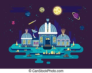style, exploration, plat, espace illustration, ovnis, observatoire