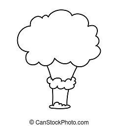 style, explosion, illustration., icône, nucléaire, symbole, isolé, arrière-plan., vecteur, blanc, stockage, explosions, contour