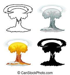 style, explosion, nucléaire, isolé, arrière-plan., blanc, dessin animé, icône