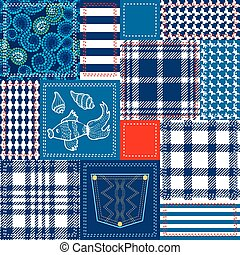 style, fait, bleu, patchwork., collage, bohémien, flaps., blanc rouge, coton