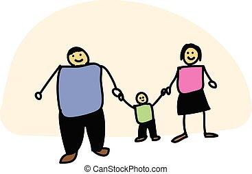 style, famille, griffonnage, main., illustration, main, hand-drawn, vecteur, père, tenue, mère, fils, concept., jour, heureux