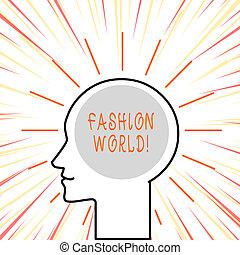 style, fason, handlowy, fotografia, pokaz, pisanie, tekst, appearance., konceptualny, świat, ręka, odzież, zwija, world.
