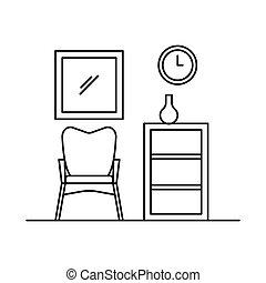 style, fauteuil, intérieur, contour