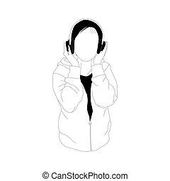 style, femme, écoute, musique, simplifié