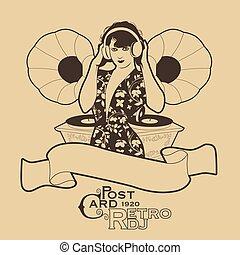 style, femme, écouteurs, card., poste, retro, dj, phonographes, vendange