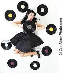 style, femme, épingle-augmentez, enregistrement, retro, girl, analogue