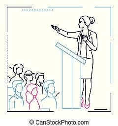 style, femme affaires, -, illustration, plate-forme, conception, ligne, parler