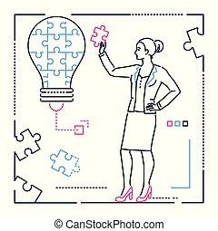 style, femme affaires, puzzle, -, illustration, conception, ligne