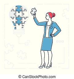 style, femme affaires, puzzle, -, isolé, illustration, conception, ligne