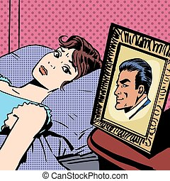 style, femme, art, épouse, comiques, photo, hommes, lit, halftone, pop, mari, retro