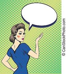 style, femme, art, bubble., point, illustration, main, vecteur, parole, pop, conception, comique, signe, retro