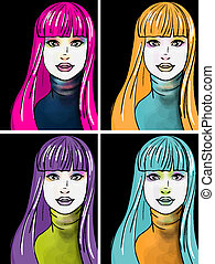 style, femme, art, jeune, pop, portrait