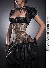 Style, femme,  corset,  rose,  élégant, Victorien, vêtements