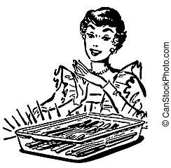 style, femme, cuisson, vendange, illustration, version, noir, four, plat, frais, blanc