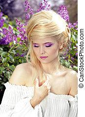 style, femme, jeune, makeup., cheveux, violet, tendre
