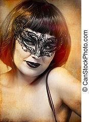 Style, femme, masque, Vénitien, artistique, mystérieux,  sexy