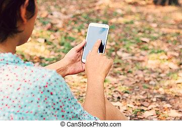 Style, femme,  mobile, téléphone, intelligent, utilisation, Parc, vendange
