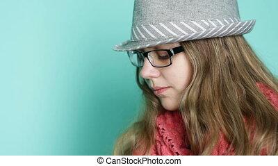 style, femme, moderne, jeune, lunettes