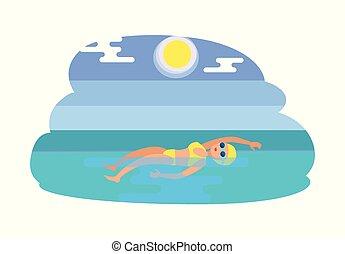 style, femme, nageur, dos crawlé, illustration, vecteur