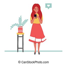 style., femme, téléphone, regarder, girl, plat, vecteur, fond, plants.
