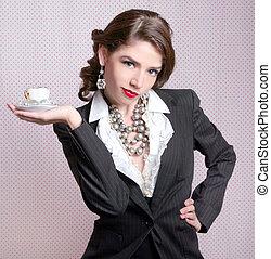 style, femme, vendange, retro, habillé, sexy
