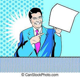 style, feuille, pop, main, papier, art publicité, comique, homme, heureux