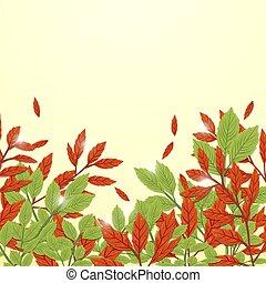 style, feuilles, automne, arrière-plan., vert, freehand, dessin, rouges