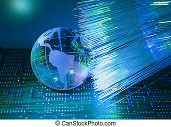 style, fibre, circuit, optique, électronique, contre, imprimé, fond, technologie, planche