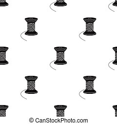 style, fil, bois, symbole, couture, web., sewing., équipement, unique, vecteur, noir, illustration, bobine, icône, stockage