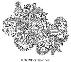 style, fleur, art, ukrainien, orné, noir, ethnique, ligne, ...