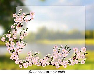 style, fleur, cerise, oriental, printemps, peinture