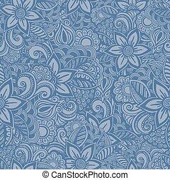style, fleur, griffonnage, pattern., seamless, main, dessiné