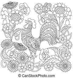 style, fleurs, coq, ethnique, dessiné, décoré, main