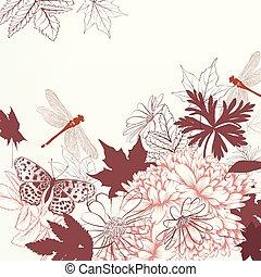 style, fleurs, fond, beautfiul, vecteur, libellule, vendange, main, dessiné