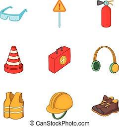 style, fonctionnement, icônes, ensemble, équipement, dessin animé, route