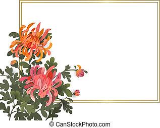 style, fond, espace, texte, cadre, chrysanthème, élégant, flowers., conception, asiatique, gabarit, floral, ton