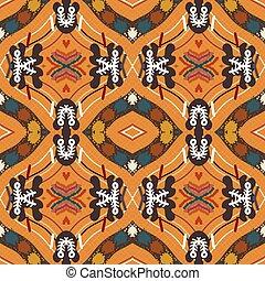 style., fondo anaranjado, seamless, tribal, floral, ...