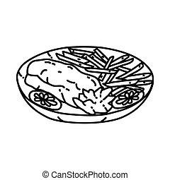 style, frit, main, icon., dessiné, griffonnage, poisson-chat, icône, ou, contour