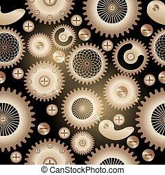 style., fundo, seamless, pattern., steampunk