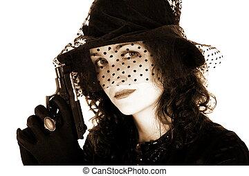 style, fusil, girl, retro