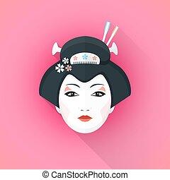 style, geisha, coloré, illustration, figure, plat