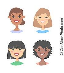 style, gens, dessin animé, icônes