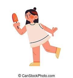 style, girl, ice-cream., illustration, mignon, foncé-d'une chevelure, blanc, vecteur, debout, dessin animé, robe, plat