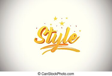 Style Golden Yellow Word Text with Handwritten Gold Vibrant Colors Vector Illustration.